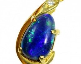 Solid Black Opal Set in 18K Yellow Gold Pendant CF1280