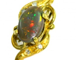 Solid Black Opal Set in 18K Yellow Gold Pendant CF1281