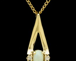 Solid Semi-Crystal Opal Pendant w/Chain 0.35ct (LP161)
