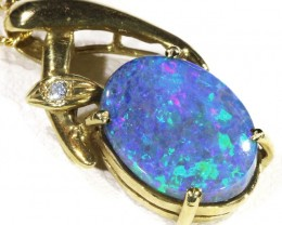 Black Opal set in 18k Gold Pendant  CF 1211
