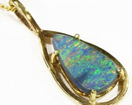 Multifire Black Opal set in 18k Gold Pendant  CF 1212