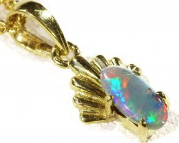 Solid Black Opal Set in 18K Yellow Gold Pendant CF 1294