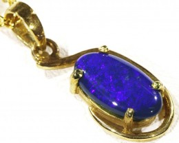 Solid Black Opal Set in 18K Yellow Gold Pendant CF 1295