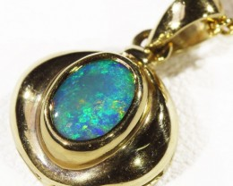 Solid Black Crystal Opal Set in 18K Yellow Gold Pendant CF 1