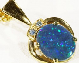 Solid Black Opal Set in 18K Yellow Gold Pendant CF 1299
