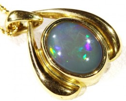 Solid semi Black Crystal Opal Set in 18K Yellow Gold Pendant CF 1300