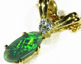 Solid Black Opal Set in 18K Yellow Gold Pendant CF 1303