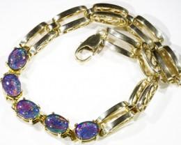 Fire Opal triplet  Bracelet , G/P top design sterling silver CF1305