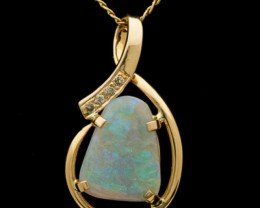 Semi-Crystal Solid Opal Pendant w/Chain 1.75ct (LP124)