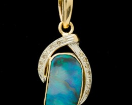 Semi-Black Solid Opal Pendant 3.7ct (LP125)