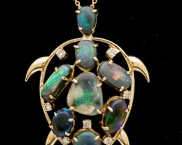 Turtle Shaped Semi-Black Solid Opal Pendant w/Chain 5ct (LP147)