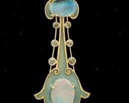 Guitar Shaped Semi-Black Solid Opal Pendant 1.45ct (LP156)