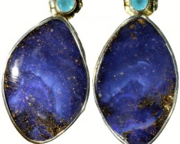 43.00 CTS BOULDER OPAL EARRINGS WITH PARAIBA CHALCEDONY [SOJ5826]