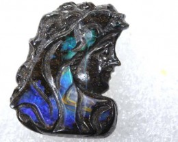 21.85 CTS BOULDER OPAL CARVING  LO-4255