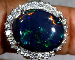 63.75 CTS SOLID BLACK OPAL PT-900 AND  DIAMOND RING INV-825  GC
