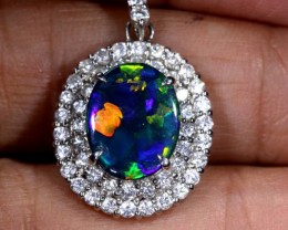 28.55 CTS SOLID BLACK OPAL PT-900 AND  DIAMOND PENDANT INV-826  GC