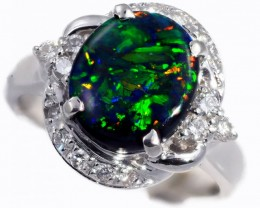 """CERTIFIED"" SIZE6 PLATINUM RING WITH BLACK OPAL [SOJ5840]safe"