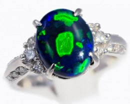 """CERTIFIED"" SIZE 6 PLATINUM RING WITH BLACK OPAL [SOJ5841 ]"