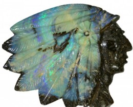 76.4 CTS BOULDER OPAL INDIAN HEAD CARVING [BOCAR117]