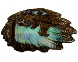 41.53  CTS BOULDER OPAL INDIAN HEAD CARVING [BOCAR120]