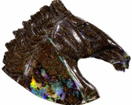 119.70 CTS BOULDER OPAL HORSE HEAD CARVING [BOCAR122]