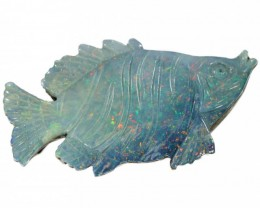 21.53 CTS  DOUBLET OPAL FISH CARVING [SO9377]safe