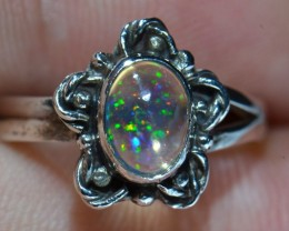 Sz6.5 Mexican Fire Solid Opal .925 Silver Ring