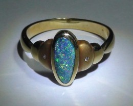 Gold Ring 18k Natural Gem Blue Green Boulder Opal 20.90ct