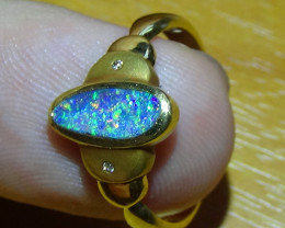 BOULDER OPAL SIZE 6.75 GOLD RING 18k  WITH 2 BRILLIANT CUT DIAMOND
