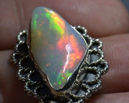 15t ct Large Opal Quality Pendant Sterling Silver