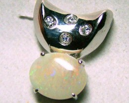 7.94 CTS SOLID OPAL AND CZ PENDANT/SILVER OF-2034