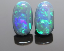 4.10Ct Pair Lightning Ridge Black Opal stone