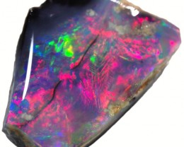 2.60 CTS BLACK  OPAL ROUGH -FACED THIN ONE END [BR5580] SAFE
