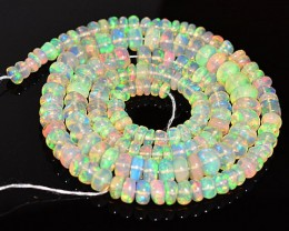 28.93 Cts Natural Multi Color Play Ethiopian Opal Beads NR