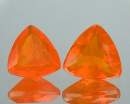 1.59 Cts Natural Mexican Orange Fire Opal Trillion 2 Pcs