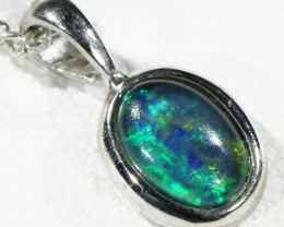 Cute Opal Triplet  into Sterling Silver pendant CF 1327