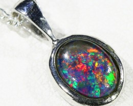 Cute Opal Triplet  into Sterling Silver pendant CF 1333