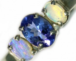 7 SIZE CRYSTAL OPAL AND TANZANITE SILVER  RING [SOJ5843]