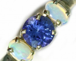 7 SIZE CRYSTAL OPAL AND TANZANITE SILVER  RING [SOJ5844]