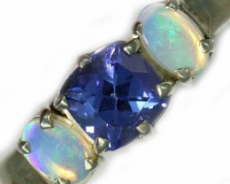 7 SIZE CRYSTAL OPAL AND TANZANITE SILVER  RING [SOJ5845]