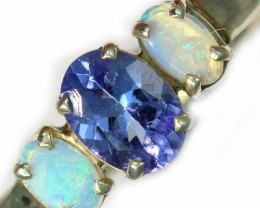 7.5 SIZE CRYSTAL OPAL AND TANZANITE SILVER  RING [SOJ5846]