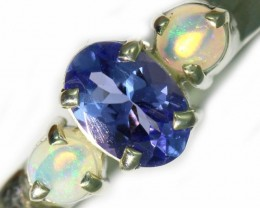 0.78 SIZE CRYSTAL OPAL AND TANZANITE SILVER  RING [SOJ5848]
