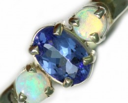 8 SIZE CRYSTAL OPAL AND TANZANITE SILVER  RING [SOJ5849]