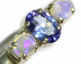 8 SIZE CRYSTAL OPAL AND TANZANITE SILVER  RING [SOJ5850]