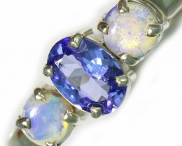 8 SIZE CRYSTAL OPAL AND TANZANITE SILVER  RING [SOJ5851]