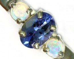 8 SIZE CRYSTAL OPAL AND TANZANITE SILVER  RING [SOJ5853]