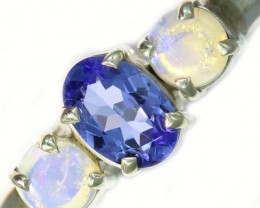 9 SIZE CRYSTAL OPAL AND TANZANITE SILVER  RING [SOJ5854]
