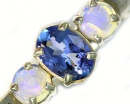 9 SIZE CRYSTAL OPAL AND TANZANITE SILVER  RING [SOJ5855]