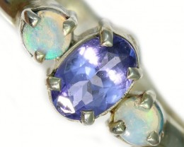 9 SIZE CRYSTAL OPAL AND TANZANITE SILVER  RING [SOJ5858]