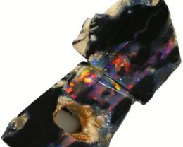 7.50 CTS BLACK  OPAL ROUGH PARCEL -RUBBED [BR5627] SAFE